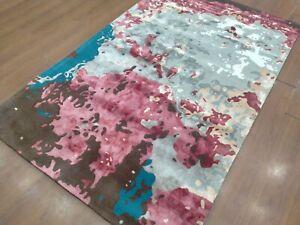 5'x8' Rug | Handmade Hand Tufted Wool & Viscose Gray-Pink Area Rug