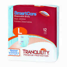 Tranquility SmartCore Disposable Briefs Large Case of 96 - #2313 Adult Diaper