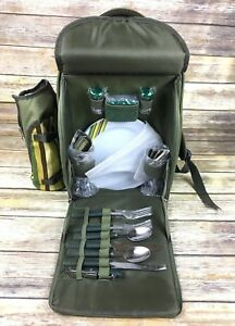2 Person Picnic Backpack W/Cooler Compartment Wine Holder Plates & Cutlery Set