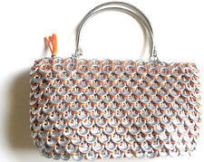 Handbag - Orange - Recycled Soda Can Pop Top Tab Bag with Steel Handles