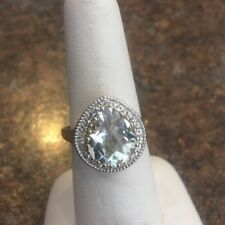 Gold Over Sterling Green Amethyst And Clear Topaz Ring Size 7.25