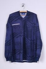 Umbro Mens XL Long Sleeved Shirt Navy Football Jersey Sportswear Top Retro