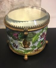 Antique Victorian Hand Painted Ceramic Brass Jewelry Casket Dresser Box Hinged
