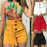 Women Summer High Waisted Button Shorts Casual Stretch Beach Hot Short Pants UK
