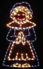 Thanksgiving Pilgrim Girl Holiday Outdoor LED Lighted Decoration Steel Wireframe