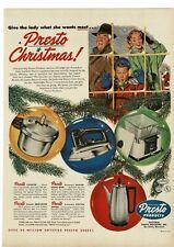 1953 PRESTO Cooker Deep Fryer Iron Coffee Maker Pot Christmas Gifts Vintage Ad