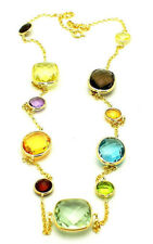 14K Yellow Gold Necklace With Cushion, Round and Oval Gemstones 20 Inches