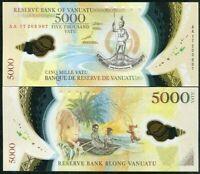 VANUATU 5000 5,000 VATU 2017 P 19 POLYMER AA PREFIX UNC