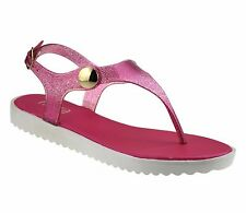 Ladies Womens Low Wedge Heel Toe Post Summer Beach Slingback Sandals Shoes Size UK 6 Fuchsia