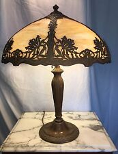 Antique Miller Art Nouveau Caramel Slag Glass Filigree Metal Shade Table Lamp