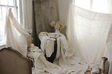 Antique homespun French linen sheets 5 FIVE upholstery fabric TIMEWORN curtains