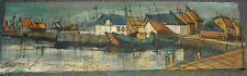 Mid Century Original Painting Harbor Scene W Boats Buildings Water Signed Garey