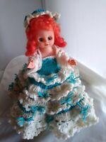 """Vintage 1989 Blue & White Hand Crocheted Dress w 12"""" doll, 18"""" skirt diameter"""