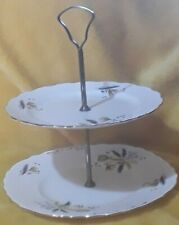 Rare Vintage Bone China Cake Stand 2-Tier  Colclough Ridgway STARDUST - 6791