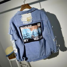 Women Embroidery Letters Jeans Loose BF Back Patch Denim Jacket Coats Oversize (