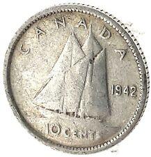 1942 Canada Silver 10 Cent George VI Km34