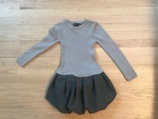 Girls TAHARI Dress Grey Knit Top With Bow on back  Size 5-6
