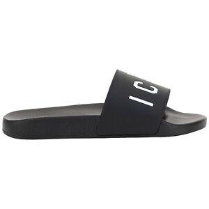 Dsquared2 slides men icon FFM001617200001M063 Black logo detail rubber shoes