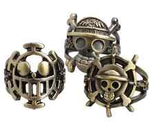 3pcs ONE PIECE luffy Straw Hat Pirate anchor Metal Cosplay ring Pendant set
