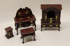 Dolls House Mahogany Dressing Bedside Table Stool Wardrobe Bedroom Furniture N2
