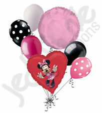 7 pc Minnie Mouse Red Heart Balloon Bouquet Party Decoration Disney Birthday Bow