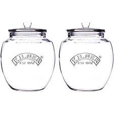 2x Vintage 2 Litre Kilner Glass Storage Jars Push Top Cookies Pot Container