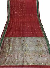 Om Vintage Indian Sari Tissue Hand Embroidered Beaded Red Saree Fabric Y11628