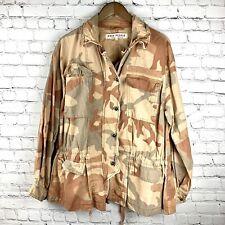 Free People Women's Taupe Camouflage Oversized Cotton Jacket Size S