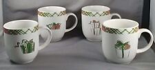 PAI Christmas Mug Set of 4 Cups Pink and Green Plaid Trim in Decorative Box