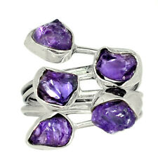 Natural Amethyst Rough 925 Sterling Silver Ring Jewelry s.8 AR139238 141U