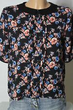 PIMKIE Bluse Gr. 36 schwarz-bunt Kurzarm Blumen Bluse