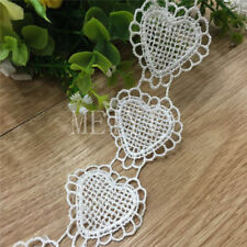1y Hearts Vintage Lace Edge Trim Wedding Dress Ribbon Applique DIY Sewing Craft