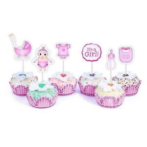48 Cupcake Toppers It's a Girl Baby Shower Kids Party Cup Cake Decorating