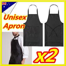 2 x Black Apron Plain Craft With Pocket Washable Kitchen Cooking Chefs Butchers