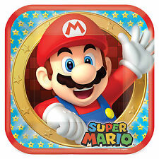 "8 Super Mario Bros Nintendo Birthday Party Disposable 9"" Lunch Paper Plates"