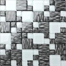 Graphit Effekt und Superweiß Kombination Glas Mosaik Fliesen Matte (MT0077)