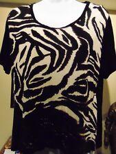 Parsley & Sage Top Women's Black/ Brown Top front animal print Large