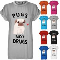 Womens Pugs Not Drugs Heart Print Top Ladies Baggy Cap Sleeve T Shirt Plus Size