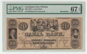 1840s US $20 Canal Bank New Orleans Louisiana PMG 67 EPQ Superb Gem Uncirculated