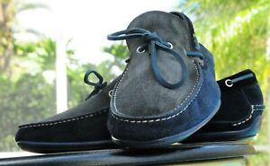 Salvatore Ferragamo  Man's Blue Gray Suede Boat deck shoes Loafer Sze 9.EEE
