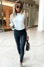 WOMENS FISHNET ORGANZA PUFF SHEER MESH SLEEVE FITTED LONG SLEEVE TOP BLOUSE TEE