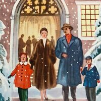 Vintage Mid Century Christmas Greeting Card Well Dressed Couple Family At Church