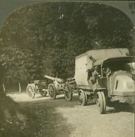 Modern Artillery Transport by Auto in France - French, Renault?  WW1 Stereoview