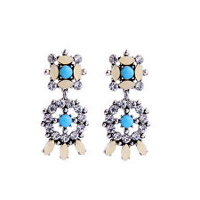 NEW Urban Anthropologie Gemini Blue Tan Beaded Rhinestone Duo Drop Earrings