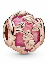 With Encased Pink Synthetic Sapphire Pandora Leaves Pandora Rose Charm