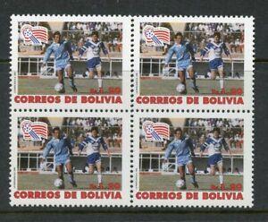 BOLIVIA SCOTT# 852 CEFILCO# 1224 SOCCER WORLD CUP 1994 BLOCK OF 4 MNH AS SHOWN