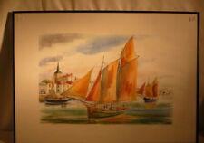 Reproduction d'aquarelle marine signé D.LEBEAU cadre bleu