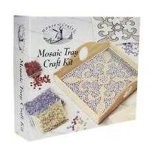 House of Crafts Mosaic Craft Kit Gift Set Wooden Tray Coloured Tiles Adhesive