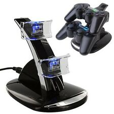 USB LED Dual Charger Controller Charging Dock Stand Station for PS3 PS 3 Slim