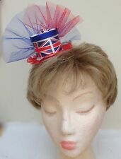 Union Jack, Patriotic, Red White and Blue Flag Mini Top Hat